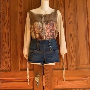 Double Breasted High Waisted Denim Shorts
